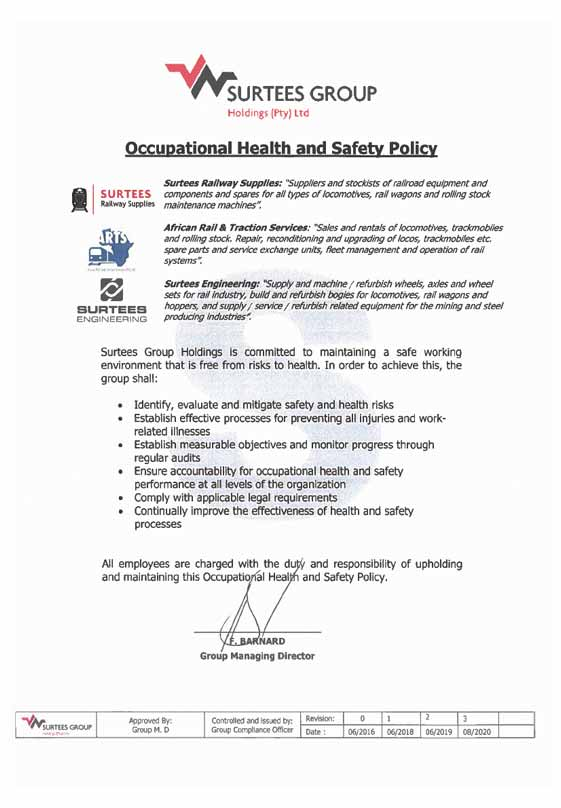 Occupational Health and Safety Policy